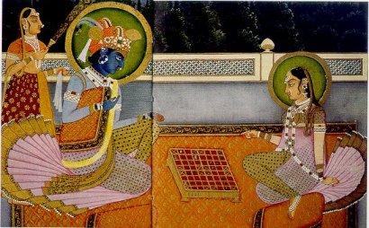 Origine du jeu d'échecs : Radha et Krishna jouant aux échecs