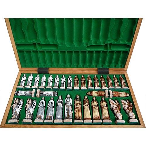 Jeu d'échecs de luxe pliable avec rangement sur-mesure des pièces (roi, reine, fou, cavalier, tour, pion)
