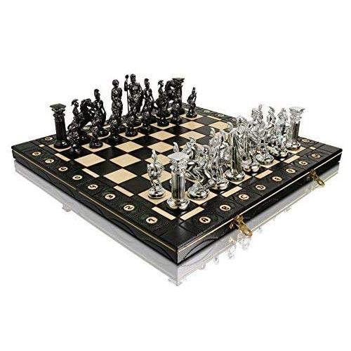 Jeu d'échecs de luxe en bois avec pièces en plastiques chromés