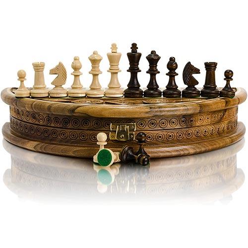 Jeu d'échecs de luxe en bois et pliable